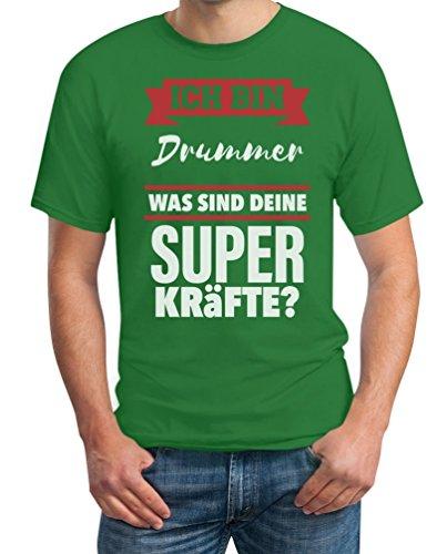 Geschenke für Drummer- Bin DRUMMER Was sind deine Superkräfte? T-Shirt Large Grün