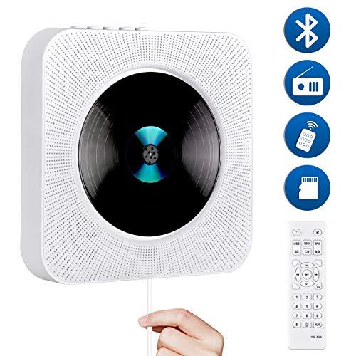 Gueray Tragbarer CD-Player Wandmontage mit Bluetooth HiFi Lautsprecher LED-Display Unterstützt FM-Radio MP3 USB 3,5 mm Kopfhöreranschluss Power an oder aus mit Zugschalter