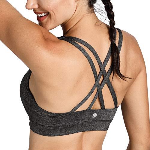 CRZ YOGA - Sujetador Deportivo Yoga Cruzados Almohadillas Extraíbles para Mujer Gris Jaspeado S