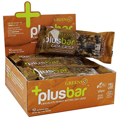 Greens Plus, Vegan Crisp Bars, Peanut Butter & Dark Chocolate, 12 Bars, 1.4 oz (40 g) Each by Greens Plus