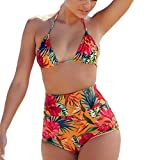 Hffan Frau Sexy Neckholder High Waist Printed Damen Dunkle Farbe Geteilter Badeanzug Push up Bikini Set Mädchen Sport Zweiteiliger Beach Swimsuit Monokini Swimwear