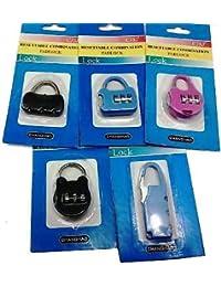 (set Of 3) 3 Digit Resettable Code Password Number Lock Combination Bag Padlock.