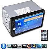 """Silver HD 7"""" TFT Car FM Radio Bluetooth Phone Call MP5 Player 2-DIN 12V Car Audio Video MP3/MP4/MP5 Music Video Stereo Receiver USB/SD/MMC Touch Screen AUX IN Support Rearview Camera"""