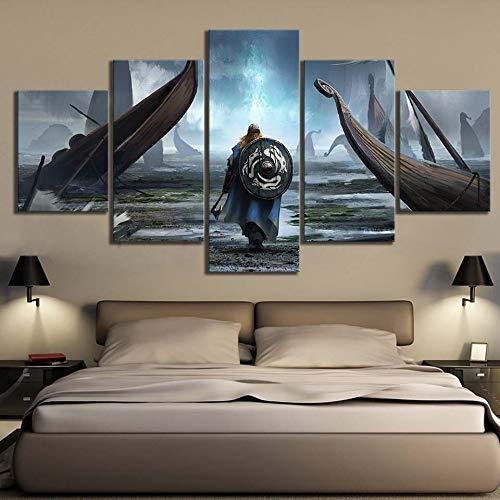 zxfcczxf Pintura en Lienzo Arte de la Pared Imágenes modulares 5 Unidades/Pcs Vikingos Película Impresión HD Poster Decorativo Casero Moderno Marco de la Sala de estar-30x40x2 30x60x2 30x80x1