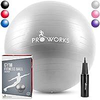 Ballon d'exercice anti-éclatement Proworks - Ballon d'exercice robuste avec pompe