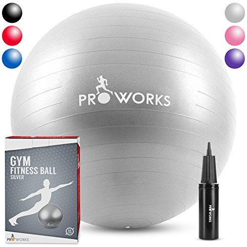 "Proworks Anti-Burst Exercise Ball 65cm/25.5"" Heavy Duty Fitness Ball with Pump (Silver)"