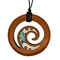 Maori Spiral Pendant, Hand Carved in New Zealand from Native Rimu Wood with Paua Inlay