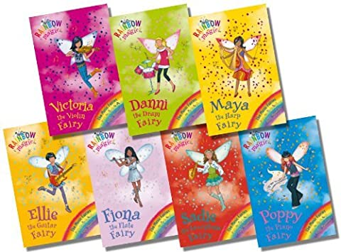 Rainbow Magic Music Fairies Collection - 7 Books RRP £34.93 (64: Poppy the Piano Fairy; 65: Ellie the Guitar Fairy; 66: Fiona the Flute Fairy; 67: Danni the Drum Fairy; 68: Maya the Harp Fairy; 69: Victoria the Violin Fairy; 70: Sadie the Saxophone