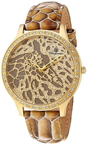Burgmeister Women's Quartz Watch with Gold Dial Analogue Display and Brown Leather Bracelet BM805-275