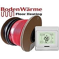 Juego de cables para suelo radiante eléctrico de suelo sin calor, alambre, disponible en diferentes tamaños, 150W/M², azulejos de calefacción, con pantalla táctil 8m² Touch Screen Thermostat