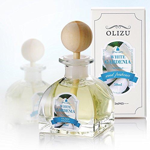 OLIZU WOOD Firma Duft Diffuser 50ml (1,7 Unzen), Aromatherapie ätherisches Öl Reed Typ, Gourmet Raumdüfte Entspannung Warming, Geburtstag Geschenke weiß Gardenia -