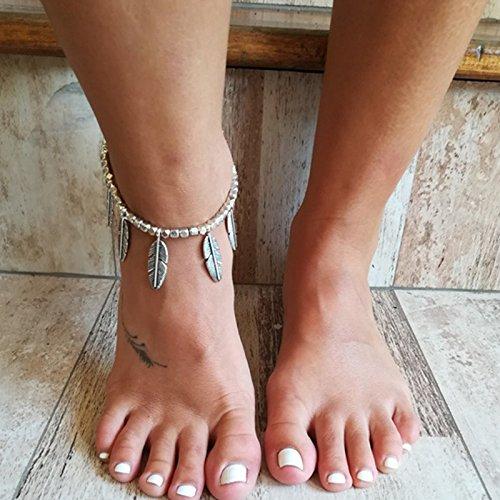 TAOtTAO Frauen Boho Silber BeadsTassel Kette Ankle Fußkettchen Barfuß Sandalen Fußschmuck