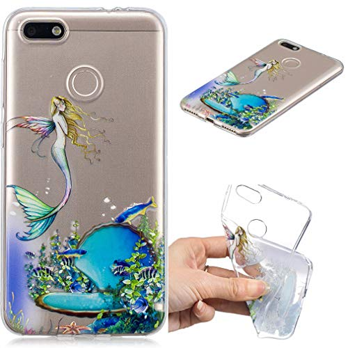 Huawei Y6 Pro 2017/Enjoy 7 (5 Zoll), Ultradünn Weiche Transparent TPU Silikon Schutz Schutzhülle Case Flexible Rückschale Back Cover, Meerjungfrau ()
