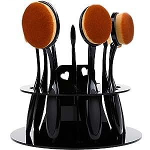 Rovtop Set 10 Pennelli per Trucco Professionali a Forma di Spazzolino da Denti, Pennello per Fondotinta Cipria Ombretto Blush Labbra sopracciglia Viso Contouring
