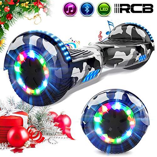 RCB Gyropode 6.5 Pouces Gyropode Electrique Auto-équilibré Self Balance Scooter pour Adultes Enfants Bluetooth Intégré Moteur 2 * 350W Cadeau pour Noël