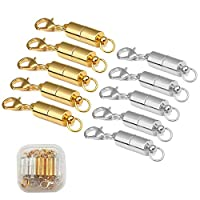 TourKing 10pcs Magnetic Lobster Clasp Magnetic Jewelry Clasps with Storage Box for Jewelry Necklace Bracelet, Silver and Gold