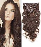 Romantic Angels Remy Gewellte Clip In Extensions Echthaar 45 cm Haarverlängerung 8 teilig 120g Medium Dunkelbraun#4