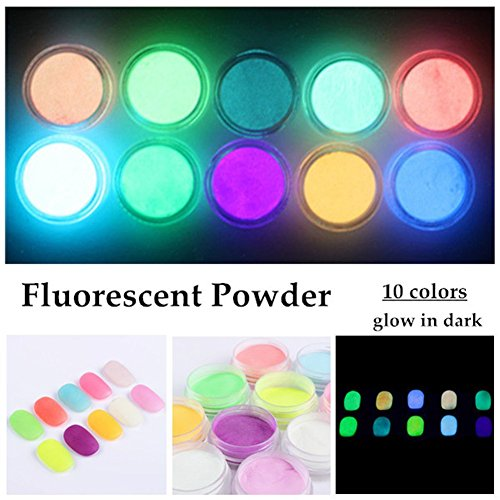 Farben Phosphorescent Leucht fluoreszierende Pulver Glow In Dark Nagel Dekorationen Nail art Acryl Verwenden DIY Kit (White Glow Face Paint)