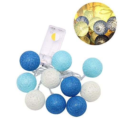 LEDMOMO 1,2 Mt 10 LED Wattebausch String Fairy Nachtlichter Für Garten Party Dekoration (Warmes Weiß Blau)