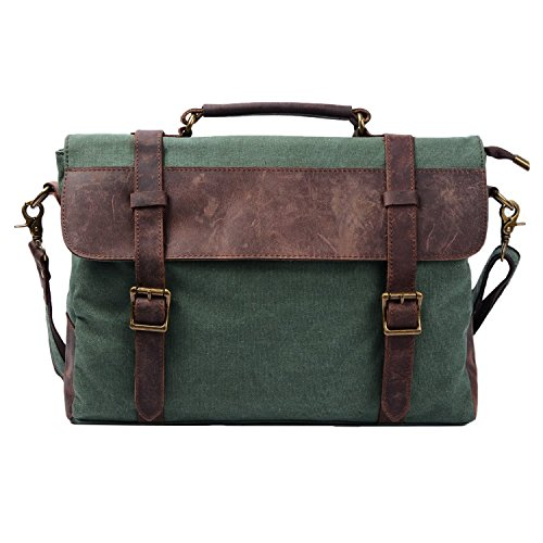 Messenger Grün Bag Canvas (S-ZONE 14 Inch Vintage Aktentasche Arbeittasche Messenger Bag Umhängetasche Schultertasche Laptoptasche aus Canvas Leder (Grün))