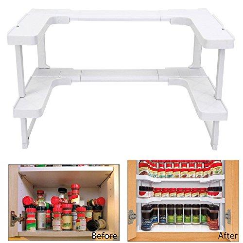 samLIKE duschregal,New Multi-Funktion einstellbar Küche Badezimmer Rack stapelbar Speicherorganisator (Weiß)