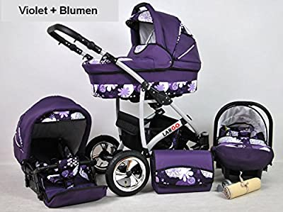 Kinderwagen Largo, 3 in 1- Set Wanne Buggy Babyschale Autositz (violet + blumen)