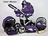 Kinderwagen Largo, 3 in 1- Set Wanne Buggy Babyschale Autositz (violet + blumen)