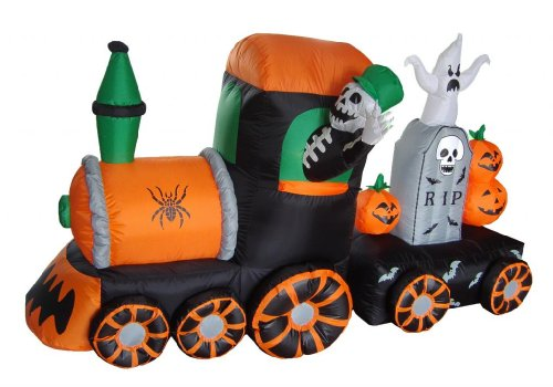 7 Foot Long Halloween Inflatable Skeletons on Train Yard (Halloween Yard Inflatables)