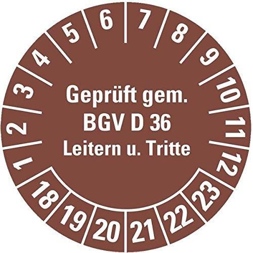 LEMAX® Prüfplakette Geprüft gem...BGV D36 18-23,braun,Dokumentenfolie,Ø 30mm,18/Bogen