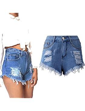 Pantalones Cortos para Mujeres Color Sólido Shorts de Mezclilla Moda Cintura Alta Rasgados Shorts Casual Denim...