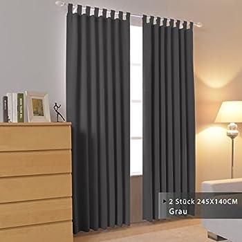 ... Schlaufen Grau 245x140cm(HxB) Schallisolierend Energiespar  Lichtundurchlässige Schlaufenshal Für Wohnzimmer/Kinderzimmer/ Schlafzimmer  Modern, 2 Stück