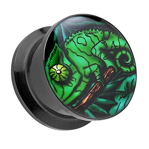 Piercingfaktor Ohr Plug Flesh Tunnel Piercing Ohrpiercing Kunststoff Schraub Schraubverschluß Picture mit grünes Chamäleon Iguana Motiv 6mm