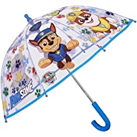 Nickelodeon Transparent Paw Patrol Umbrella for Children Blue Stick Umbrella for Boys - Marshall Chase and Rubble Print - Windproof Dome Brolly with Safety Opening 65CM
