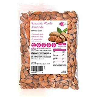 PINK SUN Whole Almonds 1kg (or 2kg, 3kg, 5kg) Raw Natural Spanish Nuts Unsalted Whole Foods with Skins On Kernals Unpasteurised Unroasted Gluten Free Vegetarian Vegan Bulk Buy 1000g