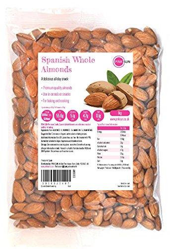 Preisvergleich Produktbild PINK SUN Mandeln Geschält Ganz 1kg Roh Natürlich Nüsse Ungeschält Ungeröstet Ungesalzen Spanisch Spanien Unbehandelt Naturbelassen 1000g - Whole Almonds Natural Spanish Nuts Unsalted Bulk