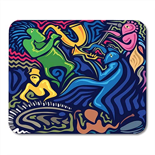 ads, Gaming Mouse Pad Blue Abstract Jazz Band Sax Trumpet Piano Drums Colorful Music Carnival Face 11.8