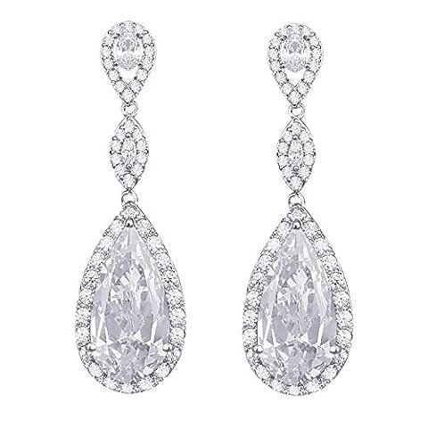 QUKE Silver-tone Clear Cubic Zirconia Teardrop Crystal Pierced Dangle Drop Long Bridal Earrings
