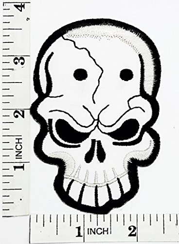 White skull Bone Hardcore Rider Biker Motorcycle Patch Hand Embroidered Iron-on And Sew-on Symbol Jacket T-shirt Patches Applique Accessories