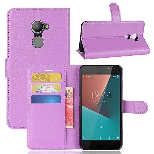 Vodafone Smart N8 Handyhülle Book Case Vodafone Smart N8 Hülle Klapphülle Tasche im Retro Wallet Design mit Praktischer Aufstellfunktion - Etui Lila