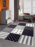 Kinderteppich Spielteppich Kinderzimmer Teppich Sterne Creme Grau Größe 80x150 cm