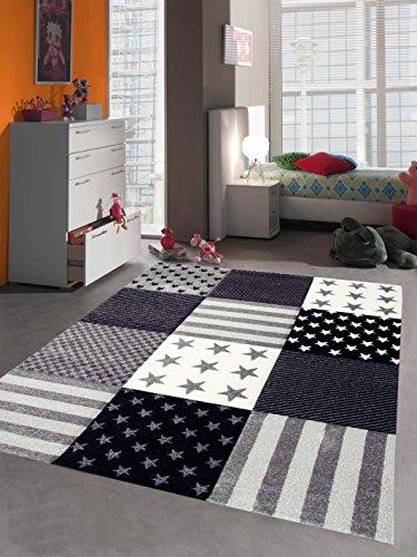 Alfombra de los niños alfombra de juegos estrella crema gris Größe 80x150 cm