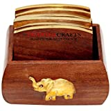 Talented Crafts Wooden Tea Coaster with 6 Plates in Brass Inlay Design