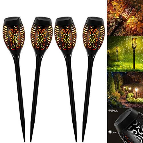 Solar Flammenlicht, Swonuk 4 Stück Solarleuchte Garten IP65 Wasserdicht Solarlampe Gartenfackeln mit Realistischen Flammen Automatische EIN/Aus Außen Warmlicht