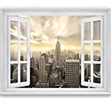 livingdecoration FOTOTAPETE,Skyline Window 2T2' 127cm x 183cm Fenster Ausblick New York USA Manhattan Tapete inklusiv Kleister