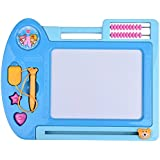 Baby Bucket A+B Magnetic Drawing Board Sketch Pad Rectangle & Round Shape Writing Craft Art Children (Blue)