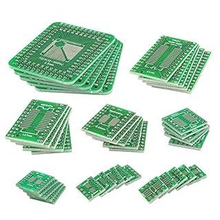 QLOUNI 40 Stück PCB-Patch Transferbrett mit 8 Module (SOP8, SOP14, SOP16, SOP20, SOP24, SOP28, SOT23, TQFP) Doppelseitige Leiterplatte Konverter PCB Board