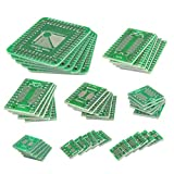 QLOUNI 40Pcs PCB Adapter Board Kit, Double Sided SMD to DIP IC PCB Adapter Plate Converter Board for DIY & Technical Testing, 8 Sizes, 0.5mm /0.65mm /1.27mm Pin Pitch (TFQP 32-100, SOP 8-28/ SSOP 8-28 / TSSOP 8-28, MSOP10)