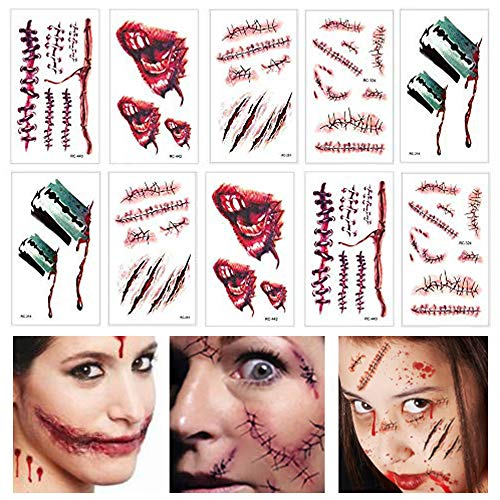 Kostüm Gesicht Narbe - Kungfu Mall Temporäre Tattoos Gesicht Make Up Aufkleber 10 Blatt Halloween Zombie Narben Wunden mit Fake Scab Blood Special Kostüm Make-Up Requisiten für Party Cosplay Kostüm