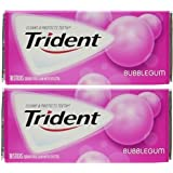 Trident Bubblegum Sugar Free Gum, 18 Sticks - Pack of 2