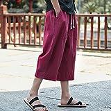 Amlaiworld Leinen Baumwoll Weite Beinhosen Sommer Strand Locker Pants Tasche Sport Herren Hosen Mode Band 3/4 Lang Freizeithose lässig männer Gemütlich Fitness Streetwear